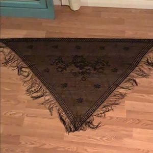 Vintage inspired fringed shawl